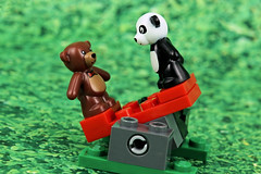 Fat Ted on a Seesaw (Lesgo LEGO Foto!) Tags: lego minifig minifigs minifigure minifigures collectible collectable legophotography omg toy toys legography fun love cute coolminifig collectibleminifigures collectableminifigure panda ted teddy bear teddybear
