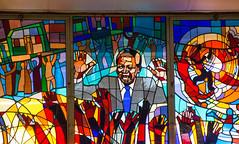 A stained glass window depicting Mandela inside the Regina Mundi (amanda & allan) Tags: southafrica johannesburg joburg jozi soweto reginamundi sowetouprising mandela