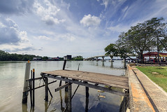 view from Kurau river bank during hot afternoon (<Pirate>) Tags: kurau river sungai kuala jejantas jambatan batu vs wooden platform lee gnd soft9 1018 is stm landscape riverscape panorama perak nature