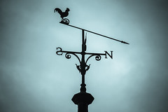 Weathervane [21/31] (eskayfoto (aka Nomis.)) Tags: canon eos 700d t5i rebel canon700d canoneos700d rebelt5i canonrebelt5i pictureaday october2016challenge october2016 october 2016 photoadayforamonth 2131 day21 sk201610213260editlr sk201610213260 didsbury manchester didsburylibrary weather vane weathervane roof rooftop architecture sky silhouette lightroom cockerel north south direction wind change top
