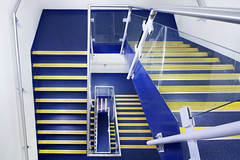 Blue and yellow stairs. (Sean Hartwell Photography) Tags: abstract stairs blue yellow stripes steps office modernarchitecture
