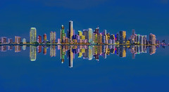 Reflections from the Miami, Florida, USA skyline / The Magic City (Jorge Marco Molina) Tags: miami florida usa miamidadecounty city cityscape centralbusinessdistrict southflorida southeastflorida megacity longexposure downtown officetower architecture highrise condominium tower skyscraper building commercialproperty realestate panoramic urban density biscayne reflections citylights cosmopolitan metro metropolis metropolitan metropolitanmiami magiccity nikond7100 jorgemolina bluehour dawn skyline biscaynebay