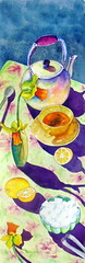 Tea table, by Ademar - DSC00061 (Dona Minúcia) Tags: art painting watercolor study paper tea table cup flower dafodil sugar kettle arte pintura aquarela mesa chá xícara açúcar flor jacinto