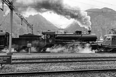 Heavy steam: Full flow (1/2) (jaeschol) Tags: 2978 bahnhof c56 cantonuri dampflokomotive etcs eisenbahn elefant elektrischelokomotive erstfeld europa gotthardbergstrecke kantonuri kontinent lokomotive re420 re420161 schweiz switzerland transport green grün uri ch
