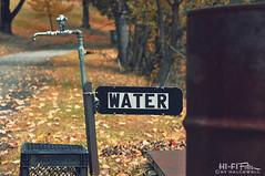 Water (Hi-Fi Fotos) Tags: water sign faucet tap spigot nozzle valve hydrant spout autumn fall drum barrel crate nikon d5000 hififotos hallewell plumbing pipe diy