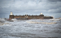 Fort Perch Rock, New Brighton. (f22photographie) Tags: fortperchrock newbrighton wirral merseyside theirishsea therivermersey seascape fort napoleonicfort waves weather stormyweather water hightide liverpoolbay coastaldefence defencebattery leicase