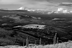Mt. Edith & Foothills (MIKOFOX  Show Your EXIF!) Tags: canada willows fall fujifilmxt1 yukon mountains sky spruce landscape hills burnarea xt1 september foxlakeburn clouds mikofox showyourexif xf18135mmf3556rlmoiswr blackandwhite monochrome bw