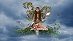 Fantasy Angels - Hanna Luna Naimarc (Hanna Luna Naimarc: MVD 2016 & MVW Chile 20) Tags: nature fantasy angel whimsical birds flowers staff white goddess antlers forest fantasyangels