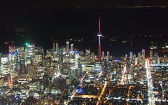 Downtown Toronto (Ben_Senior) Tags: toronto ontario canada downtown downtowntoronto colour colours color colors building skyline buildings skyscrapers night dark evening landscape lights city cntower rogerscentre skydome water black lakeontario cytz ytz airplane plane aircraft aviation generalaviation nikon d7100 nikond7100 streets cars carlights bensenior cessna172 cessna 172 citycentre citycentreairport