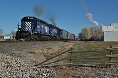 Matching Blues - Three Forks, MT (MinnKota Railfan) Tags: rail railroad engine loco locomotive train mrl montana link railway three forks mt emd sd40 western rocky rockies mountains