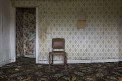a place called home (james_drury) Tags: urbex urban exploration uk chair wallpaper gaudy patterned patterns 1970s canonef2470mmf28liiusm dreary carpet