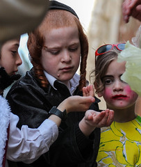 Hath not a Jew eyes? Hath not a Jew hands, organs, dimensions, senses, affections, passions; (ybiberman) Tags: feast children israel candid jerusalem streetphotography purim jews ultraorthodox payot purirmfees