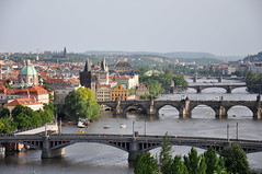bridges of Prague (marin.tomic) Tags: park city travel bridge urban green church water skyline river nikon cityscape view prague prag praha tschechien medieval spire czechrepublic charlesbridge oldtown vltava moldau d90