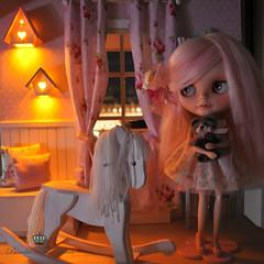 OOAK Blythe Mai & rocking horse diorama