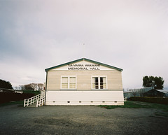 Tua Marina Waikakaho Memorial Hall (@fotodudenz) Tags: new sky film misty marina island hall memorial angle cloudy kodak south wide foggy overcast rangefinder zealand medium format marlborough portra tua mamiya7 43mm 2013 koromiko waikakaho nz2013