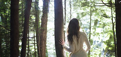 Glow (Rachel.Rosemarie) Tags: trees sunlight selfportrait cold tree green me nature colors girl leaves pine forest self out sweater model woods nikon looking longhair clean expansion nikond5100
