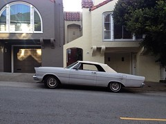 Mean Streets (misterbigidea) Tags: street city classic ford beauty vintage grey san francisco view parking wheels gray convertible 1966 neighborhood sidewalk hotwheels parked 500 streetsofsanfrancisco mag musclecar fairlane ragtop neutral vrooom uploaded:by=flickrmobile flickriosapp:filter=nofilter