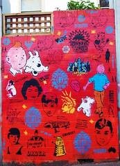 Tintin Wall (2) (ambrett) Tags: tim snowy sydney australia tintin newtown milou herge struppi konsumterra