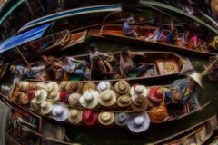 Hats (D-W-J-S) Tags: food hat thailand boats boat market hats floating tourists colourful saduak damnoen uploaded:by=flickrmobile flickriosapp:filter=nofilter