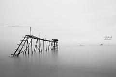 jeram-005 (wylee) Tags: longexposure sea blackandwhite bw beach nature landscape outdoor dusk nopeople malaysia scenics kualaselangor horizonoverwater pantaijeram