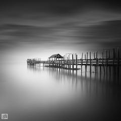 Jetty (Shahrulnizam KS) Tags: wood longexposure travel bridge sea vacation sky blackandwhite seascape art heritage abandoned beach nature monochrome beautiful square landscape photography blackwhite wooden amazing fishing nikon asia exposure silent artistic jetty fineart border smooth tranquility squareformat malaysia future slowshutter lonely minimalist tranquil bnw forward asean johor silky tidy colourless cropsquare nd400 d90 straitsofmalacca malaysianphotographer pontian sigma1020 leadingline nikond90 silverefexpro extremelongexposure shahrulnizamks