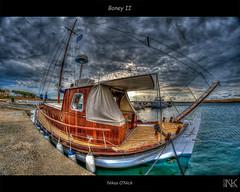 Boney II (Nikos O'Nick) Tags: sea sky clouds pier boat fishing nikon harbour aegean hellas nikos fisheye greece ii heavy 8mm hdr boney limnos lemnos farbspiel samyang       onick d300s       kotanidis  k