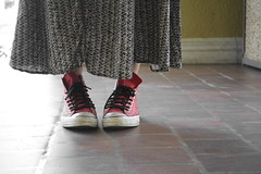 HER shoes & skirt (lorianne . (&)) Tags: she red sexy classic girl shoes different hipster skirt her converse simple laces alejandra