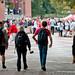 Students head toward the Cupcake War event on the Brickyard.