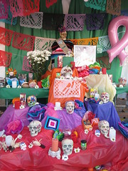 Day of the Dead Display (shaire productions) Tags: holiday dayofthedead dead photography death oakland photo image display altar celebration event photograph memory diadelosmuertos alter fruitvale skeletal imagery