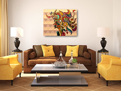 Modern living-room interior. (Dorit Art) Tags: light brown white house classic home lamp yellow wall modern carpet design 3d beige apartment bright furniture contemporary interior empty room seat lounge decoration indoor nobody screen front livingroom couch sofa decorating classical armchair frontal decor luxury