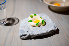 Ice cream seasoned with meadowsweet (served with the preserved egg yolk) (FoodTy [food-tee]) Tags: europe sweden jämtland järpen magnusnilsson 50best fävikenmagasinet