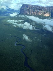 Canaima from the air (marcwiz2012) Tags: mist mountain southamerica river landscape venezuela fromabove jungle covered canaima shrouded tabletop gransabana tepui