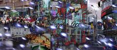 Downtown Festive (Tim Noonan) Tags: digital photoshop triptych colour texture urban downtown festive season buildings street choir square dundassquare signs holidays christmas city details lights toronto awardtree ultramodern