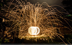 Christmas Light Painting (RomainBihore) Tags: christmas light wool canon painting fire eos rebel december steel noel 25 24 1855 feu fer decembre paille t3i orléans citrouille steelwool bengale 600d 2013 sphère limaille