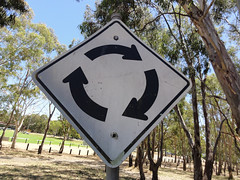 Roundabout (RS 1990) Tags: road park old signs bike bmx track traffic very january age worn adelaide weathered southaustralia 2011 teatreegully