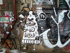PK (Georgie_grrl) Tags: streetart toronto ontario graffiti weird alley boobies expression teeth creative cyclops pizza slice pk fangs ax cranky hatchet outie graffitialley pizzakiller canonpowershotelph330hs thenewdarkpinkside bellybuttonihope pepperoniithink