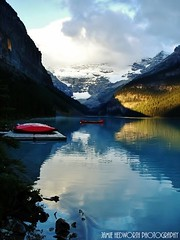 Lake Louise Kayaks (Jamie Hedworth) Tags: lake canada mountains nature glacier alberta lakelouise banffnationalpark victoriaglacier