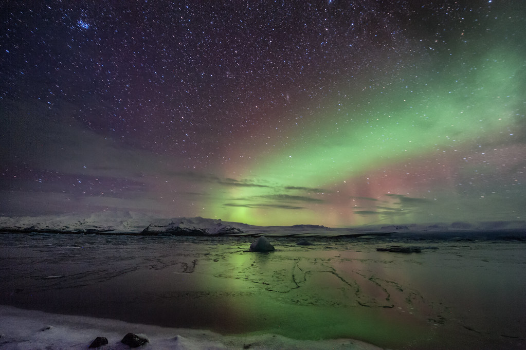 The aurora borealis from Jokulsarlon glacial lagoon in Southern Iceland.