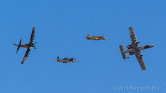 """Heritage Flight: P-51D Mustang """"Galveston Gal"""", P-40N Warhawk, AD-4 (A-1) Skyraider """"The Proud American""""  and A-10C Thunderbolt II of A-10 West (Norman Graf) Tags: galveston gal lobos the proud american 12af 2013a10westdemoteam 355fw 358fs 820659 a1 a10 a10c ad4 aircraft airplane curtiss davismonthanafb douglas fairchildrepublic heritageflight heritageflightconference majkyle""""swat""""lanto n965ad northamerican p40 p51 p51d tacticaldemonstrationteam usaf white79 p40n"""