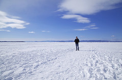 Standing on Lake Champlain (Melissa O'Donohue) Tags: blue winter lake snow mountains cold ice nature clouds burlington landscape frozen amazing vermont gorgeous bluesky freeze champlain blueskies february icy incredible frozenwater vt greatlake lakechamplain walkingonwater burlingtonvt