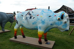 White buffalo calw woman by Linda Phillippi (SomePhotosTakenByMe) Tags: city vacation usa art animal america project buffalo montana unitedstates kunst urlaub publicart amerika bison tier büffel westyellowstone paintedbuffalo buffaloroam lindaphillippi whitebuffalowcalwwoman
