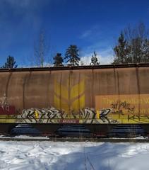 CHROME (YardJock) Tags: art graffiti chrome spraypaint boxcar hopper freighttrain fatso railwaytracks rollingstock kwota benching paintedsteel