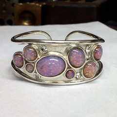 Simulated Opal Torque bangle in Silver