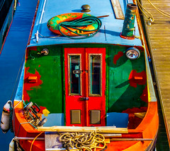OTT Barge (stephenbryan825) Tags: albertdock liverpool barges black blue boats green red reflection selects vessels water
