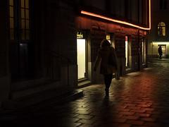 Guided by Neon (Markus Jansson) Tags: red asahi smc takumar 28mm legacy legacylens street stockholm odenplan candid mood moody rain night evening autumn