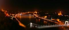 Night tilt-shift Budapest (morosus) Tags: tiltshift tiltshiftcamera budapest buda night este gellrthegy erzsbet hd lnc duna danube budapestbudapest pest high saturation app bridge city vros