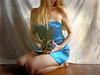 .. about Rolleiflex ❤ ... (MargoLuc) Tags: rolleiflex vintage camera analog me self portrait girl woman blond hair blue dress satin red lips natural light window indoor artisawoman fashion