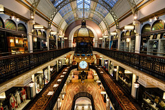 Queen Victoria Building [Explored] (DILLEmma Photography) Tags: mall australia sydney queen victora design architecture building floors clock stores shops romanesquerevival shopping style colonnades arches balustrades cupolas