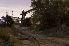 (Dr Magnus) Tags: night time photography full moon street light moonlight dirt trees fall colors conveyor belts belt industry shipyard abandoned nothing left watch over this is no mans land nomans