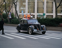 """""""Color of Autumn 2016 In NYC"""" (Vintage Car Traveling Up Broadway promoting """"Hi-Life"""" Lounge) (nrhodesphotos(the_eye_of_the_moment)) Tags: dsc0276872 theeyeofthemoment21gmailcom wwwflickrcomphotostheeyeofthemoment colorofautumn2016innyc automobile car advertising reflections vintage sign broadway nyc manhattan shadows streetscene man buildings lincolncenter windows glass metal plantlife urban whitewalls tires crosswalk perspective season autumn outdoor vehicle chrome licenseplace promoting streetsigns pedestrian streetlights headlights oldfashioned landscape"""
